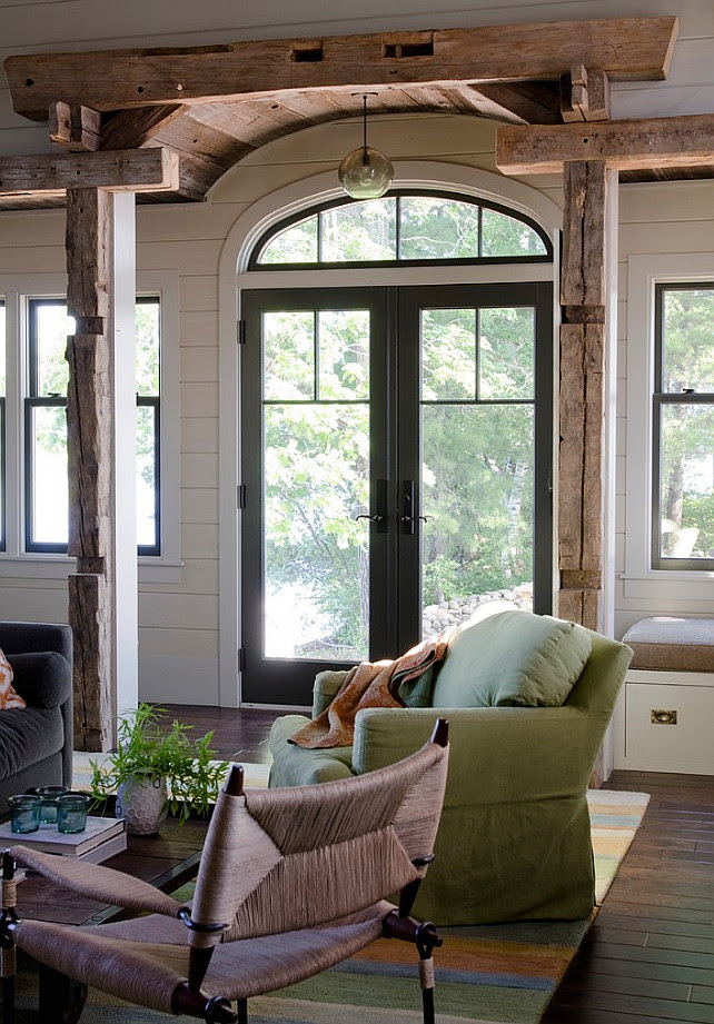 Rustic Entry Foyer. Rustic Entry Foyer with reclaimed timber beams and charcoal doors and windows. #Foyer #Entry #Rustic #Timber #Beams #ReclaimedWood Kristina Crestin Design.