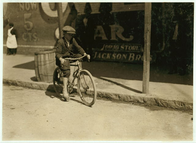 10 year old delivery boy for an Opelika drug store. Gets $3 a week.  Location: Opelika, Alabama.