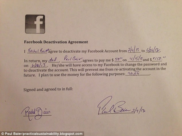 Airtight: Paul Baier made his daughter Rachel sign a contract before he agreed to pay her $200 to quit Facebook