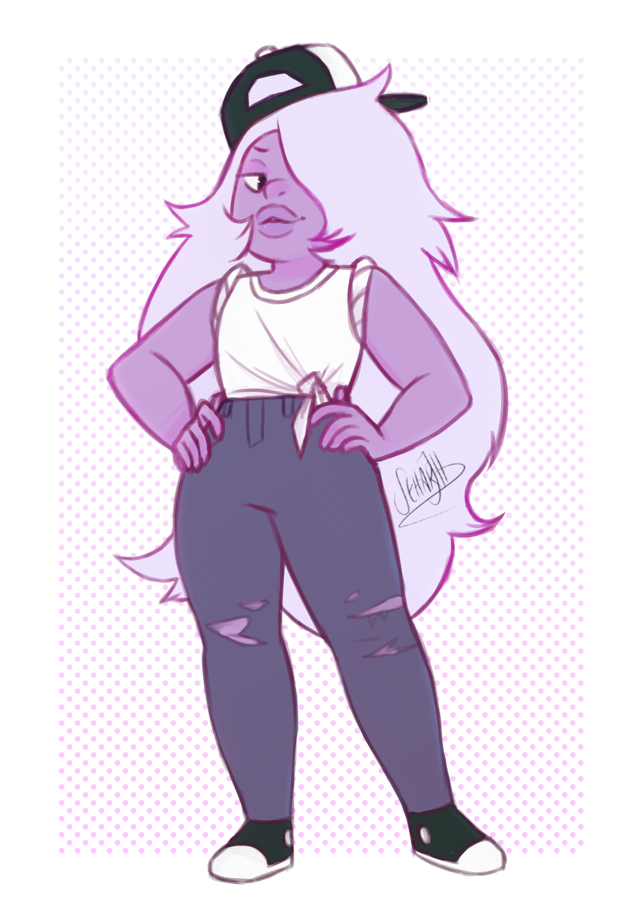 """""""Uh, of course! Let's just grow!"""" 'Grown' Amethyst is pretty stylin'"""