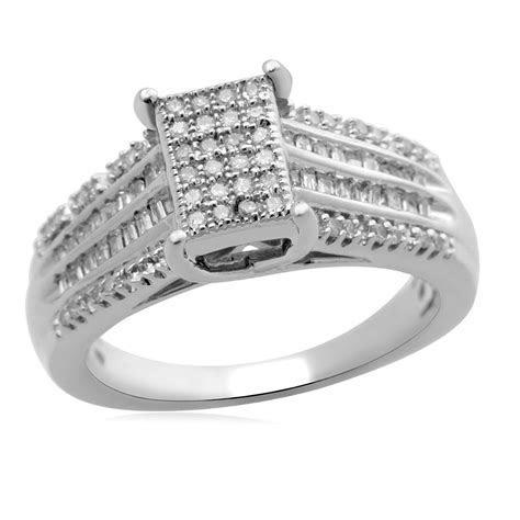 Eternal Treasures Sterling Silver 1/3cttw Diamond Bridal Ring
