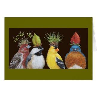 Bird party with grumpy bluebird card