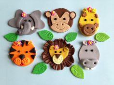 "1 x edible icing Jungle Animal zoo themed round 7"" Birthday cake ..."