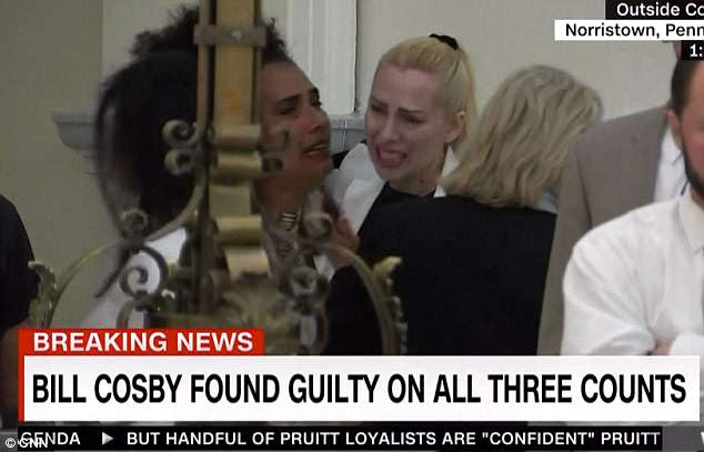 Cosby accuser Lili Bernard (left, with fellow accusor Caroline Heldman) let out a sob as the foreperson delivered the guilty verdict on each charge