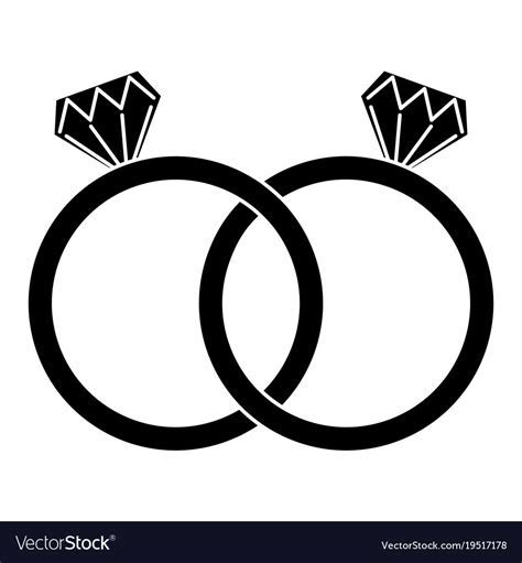 Diamond engagement rings icon image Royalty Free Vector
