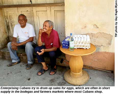 Enterprising Cubans try to drum up sales for eggs.