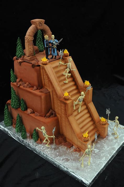 Skeleton battle wedding cake
