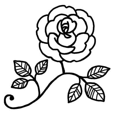 バラ1バラ薔薇花無料白黒イラスト素材