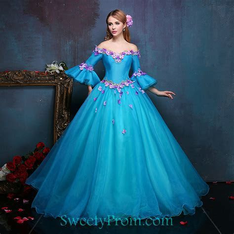 Organza Off The Shoulder Fairy Dresses With Middle Sleeves