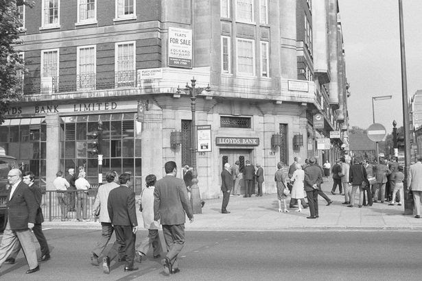 Lloyds Bank on the corner of Baker Street and Marylebone Road, London where the vault of the bank holding safe deposit boxes was broken into on the night of 11 September 1971