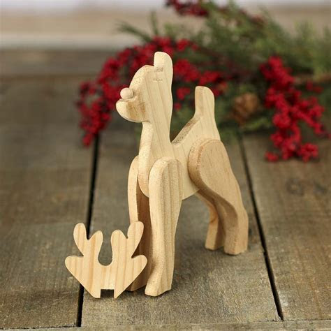 Unfinished Wood Standing Reindeer Figurine   Holiday Craft