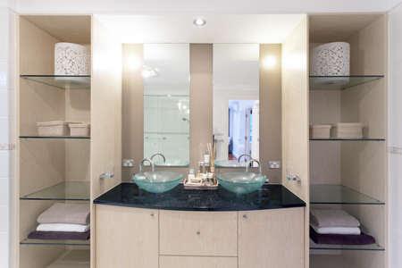 Modern Twin Bathroom With Stylish Bath Royalty Free Stock Photo ...