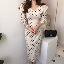 French style Spring autumn Women Casual Polka Dot Print