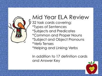 Mid Year ELA Review Task Cards (Snowman)
