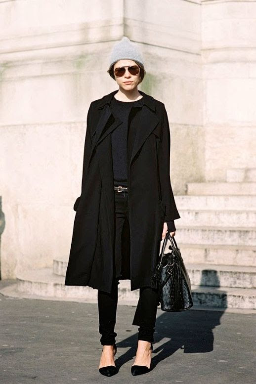 Le Fashion Blog Street Style Emily Weiss Grey Beanie All Black Look Longline Coat Skinny Jeans Leather Pumps Via Vanessa Jackman