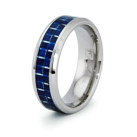 Stainless Steel Blue Carbon Fiber Inlay Wedding Band 8MM