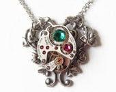 EVANGELION :Steampunk Necklace /A Vintage Watch Movement Jewelry - TwilightsCastle