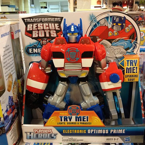 Rescue bots prime is cute!! With lights up and sounds