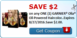 Save $2.00 on any ONE (1) GARNIER® Olia® Oil-Powered Haircolor..Expires 8/27/2016.Save $2.00.