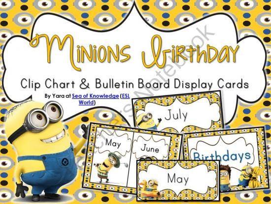 Minion Birthday Bulletin Board & Clip Chart Display Cards editable ...