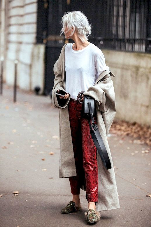 Le Fashion Blog Fall Street Style Pfw Blonde Hair Low Bun Long Neutral Duster Coat White Tee Red Snakeskin Pants Gucci Fur Mule Flats Via British Vogue