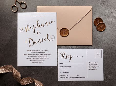 GREY ROSÉ   Rose Gold Wedding Invitation   Luxury Wedding