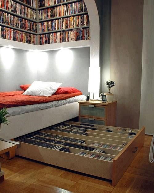 librero debajo de la cama