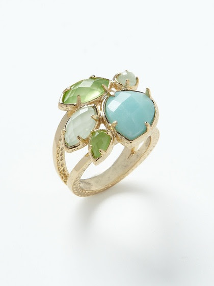 I especially love this color combination, and the teardrop and marquis cuts....and the leaf-like impressions in the band. - Carmella  Kiwi Ring | Kendra Scott Jewelry