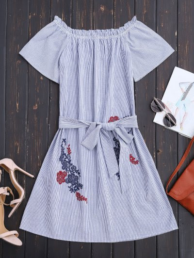 Zaful Belted Off The Shoulder Casual Dress