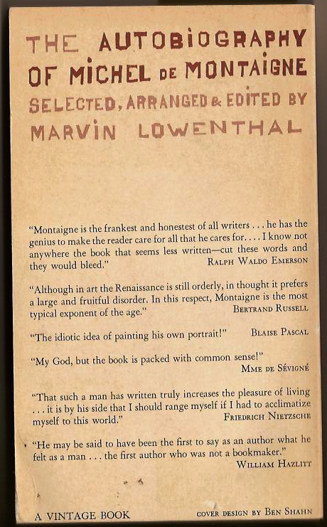autobio of Montaigne (back cover)