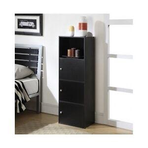 Tall Storage Cabinet Wood Cupboard Shelf Display Organizer ...