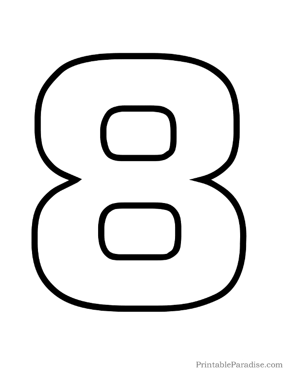 Printable Number 8 Outline - Print Bubble Number 8