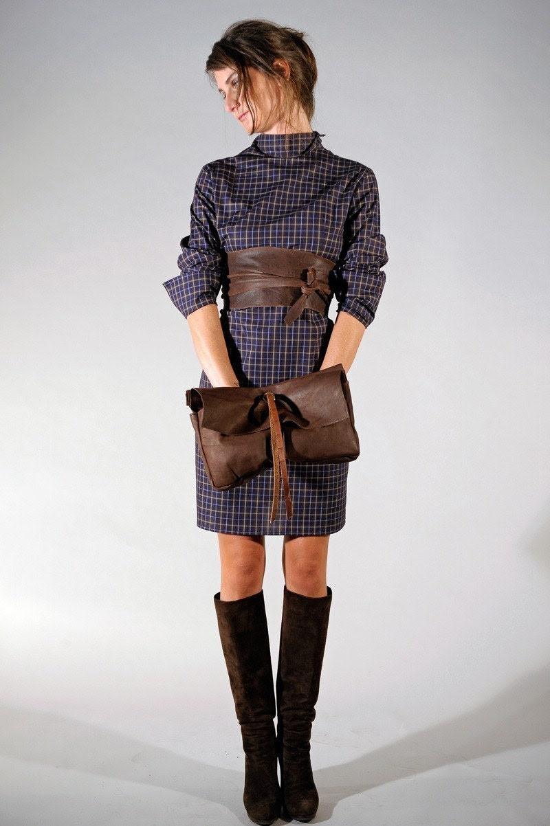 Brown Leather Bag Flake Purse