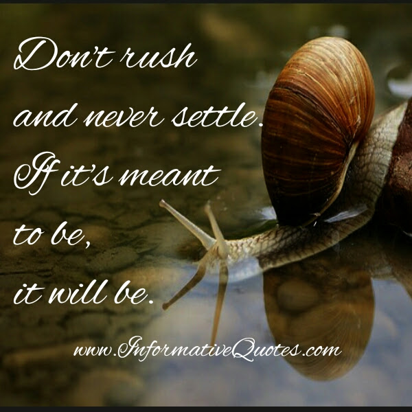 Dont Rush Never Settle Informative Quotes