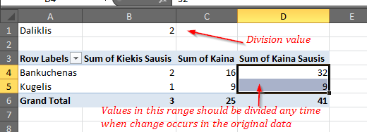 How to divide all values in a pivot table column by a constant