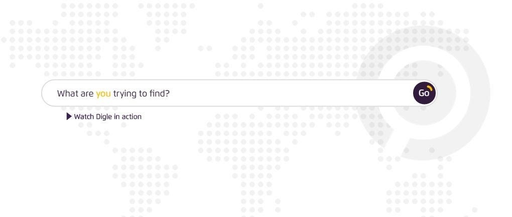 A screenshot from the Digle landing page with a faint map of the world represented in grey dots as the background. To the right of the map is a large magnifying glass icon in pale grey. On top of this background is a search bar with the question 'What are you trying to find?' Underneath is a link with a triangular Play button reading 'Watch Digle in action'.
