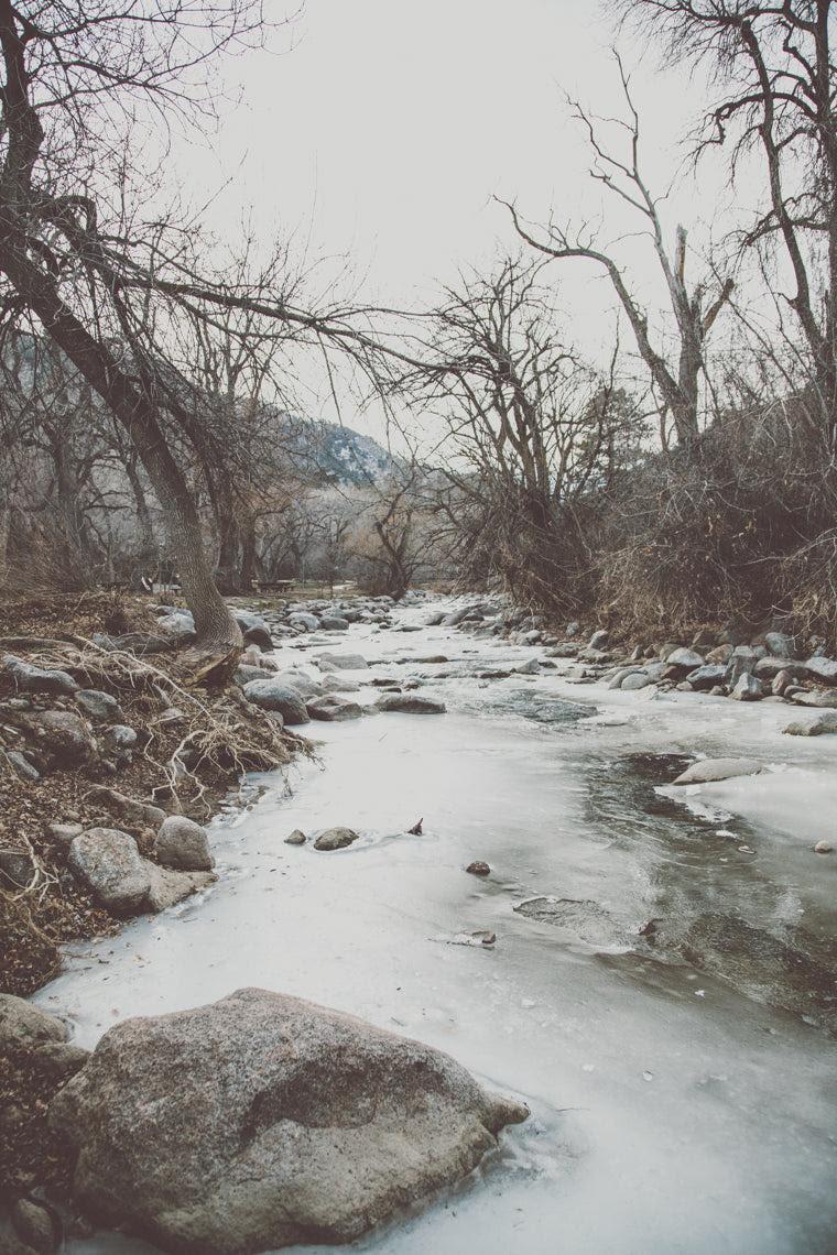 Photo of frozen water in Boulder Creek