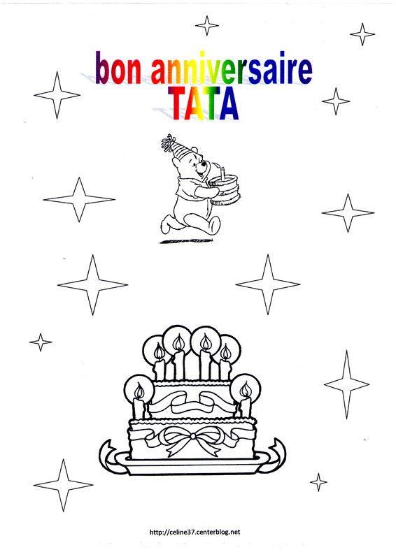 Coloriage Joyeux Anniversaire Nounou.Le Plus Aime Coloriage Bon Anniversaire Tata Coloriages