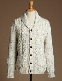 Burton British Wool Natural Shawl Neck Cable Knit Cardigan