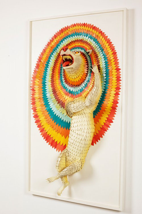 ajfossik bois tableau sculptre 08 500x750 Les monstres en relief dAJ Fosik  art