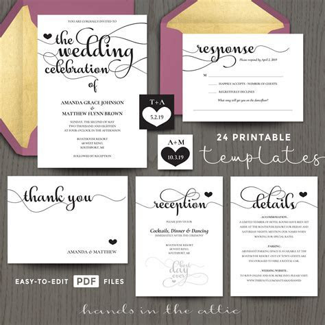 Wedding Celebration Invitation Templates   Hands in the Attic