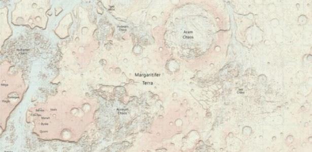 Mapa foi produzido a pedido de cientista que planeja viagem a Marte