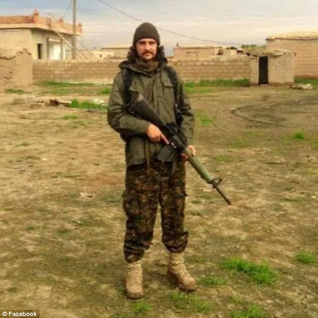 Injured in Iraq: Matthew Kawolski was fighting alongside the Chappies - a unit of Westerners within the Syria-based People's Protection Units (YPG), when he was apparently hurt in combat