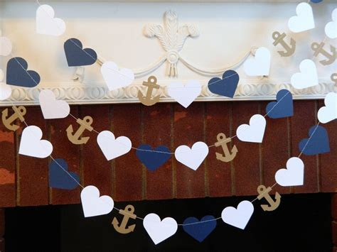 Wedding Garland / 10ft Anchors and Heart Garland / Navy