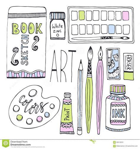 art supplies  drawing sketches vector set  paints