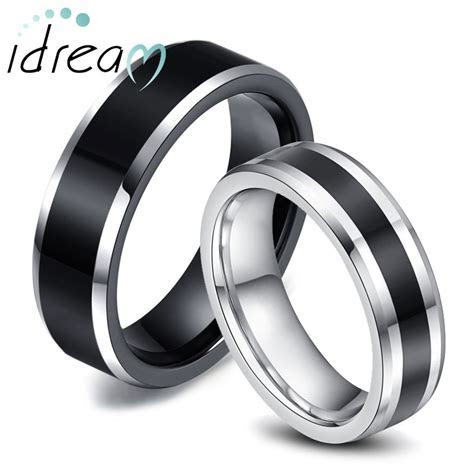 Two Tone Tungsten Wedding Bands Set for Women & Men, White
