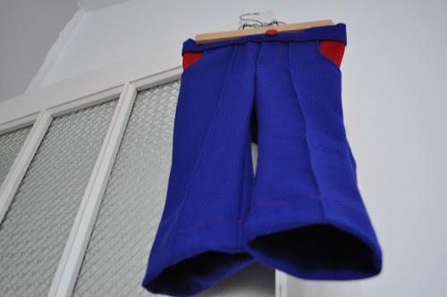Blauwe wollen broek