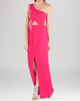 BCBGMAXAZRIA Kauri One Shoulder Cutout Gown