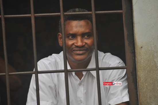 Ali Gabass locked up in a temporary cell at the Cocoa Affairs Court in Accra