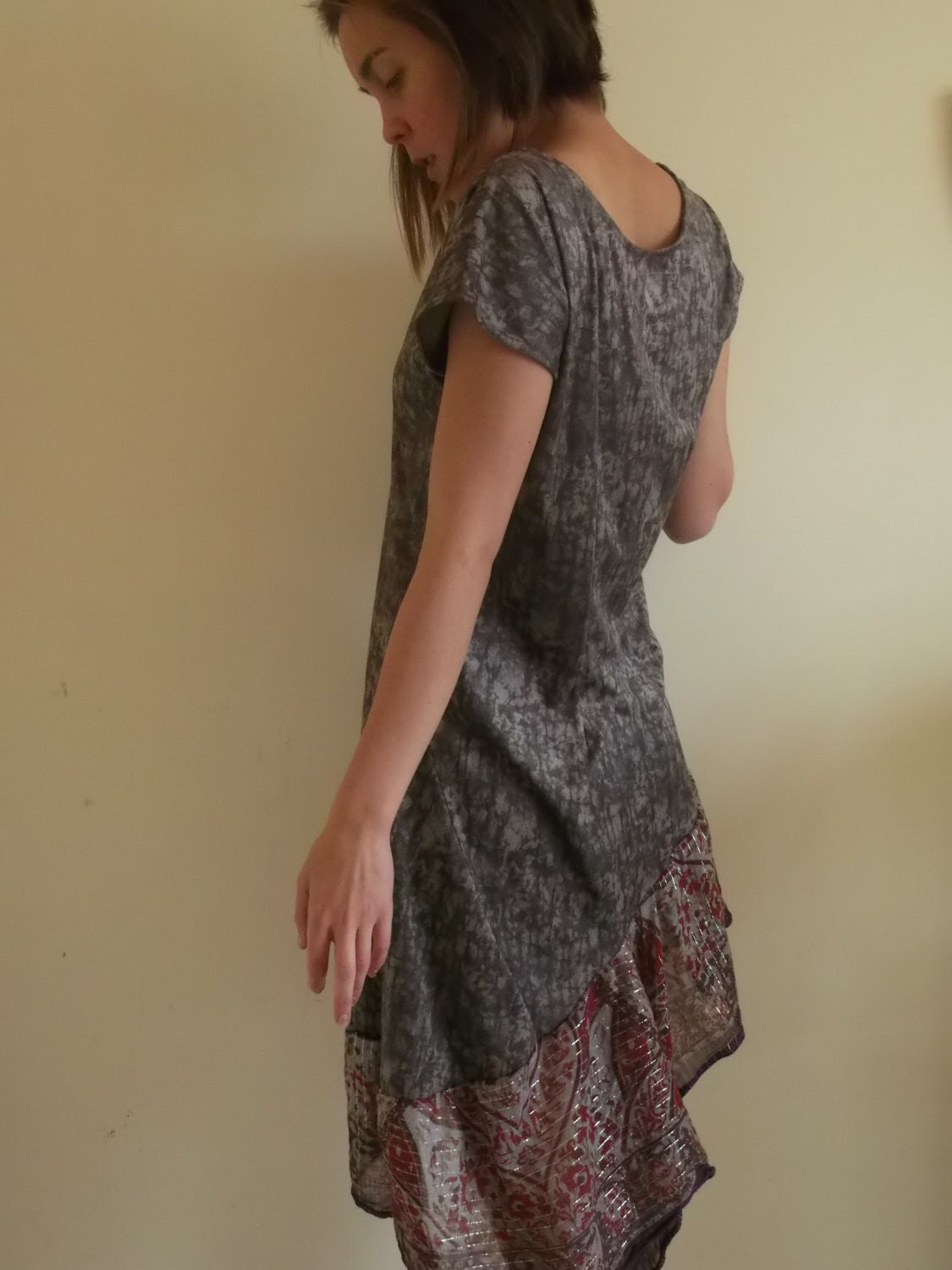S upcycled dress in brown, purple and red - small